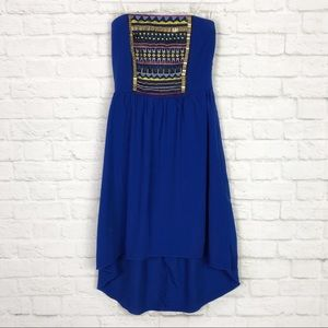 Maurices Embroidered Beaded Strapless HiLow Dress